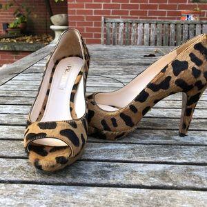 Prada St Leopardo Chic Miele open Toe Pumps